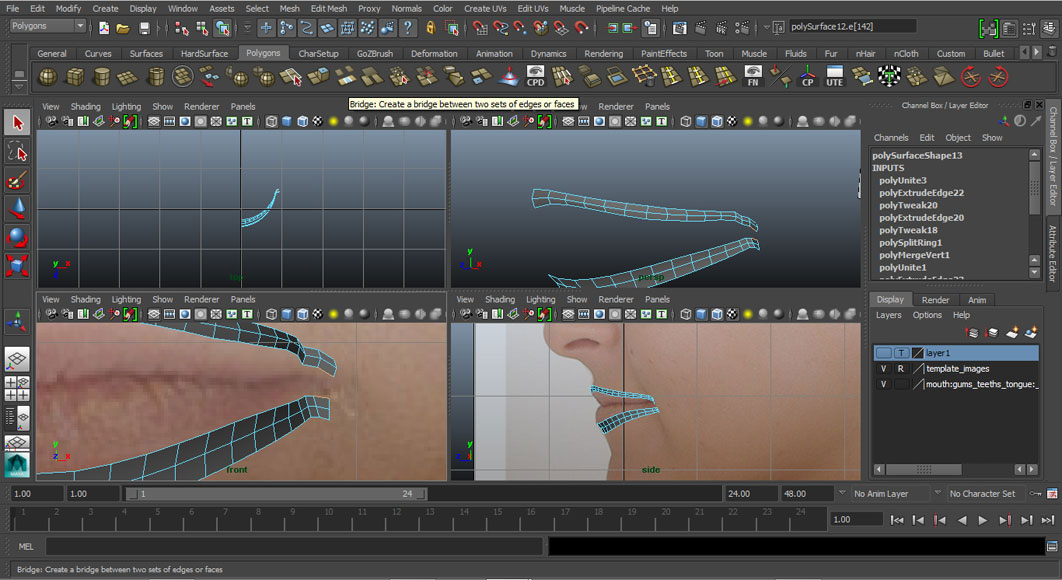 Jorge Sanchez modelling the lips and mouth tutorial image Part 1 Step 3