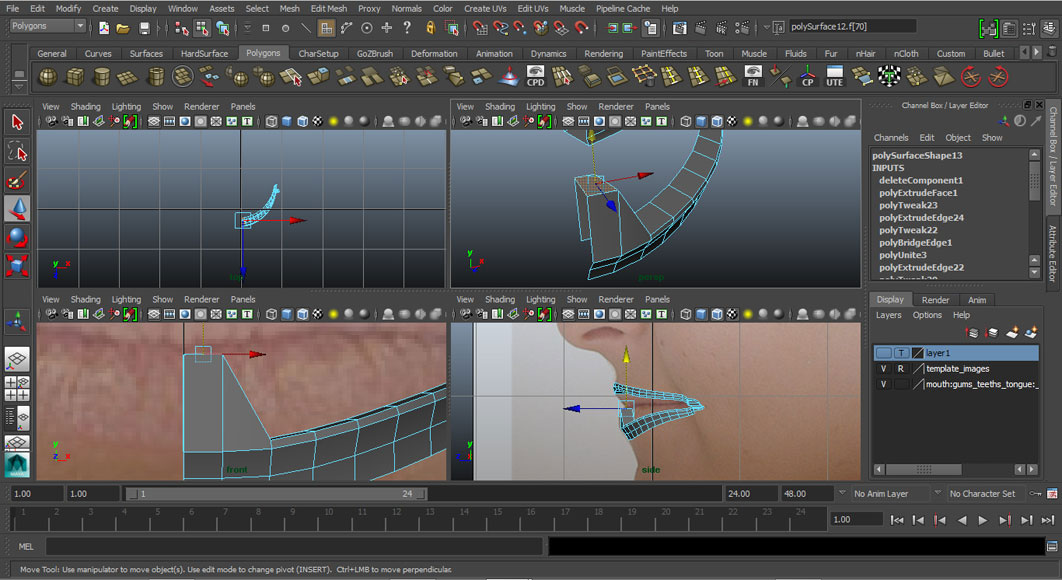 Jorge Sanchez modelling the lips and mouth tutorial image Part 2 Step 4