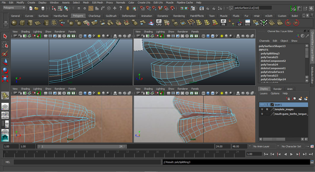 Jorge Sanchez modelling the lips and mouth tutorial image Part 3 Step 1