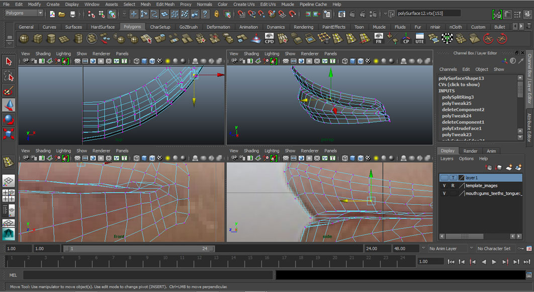 Jorge Sanchez modelling the lips and mouth tutorial image Part 3 Step 2