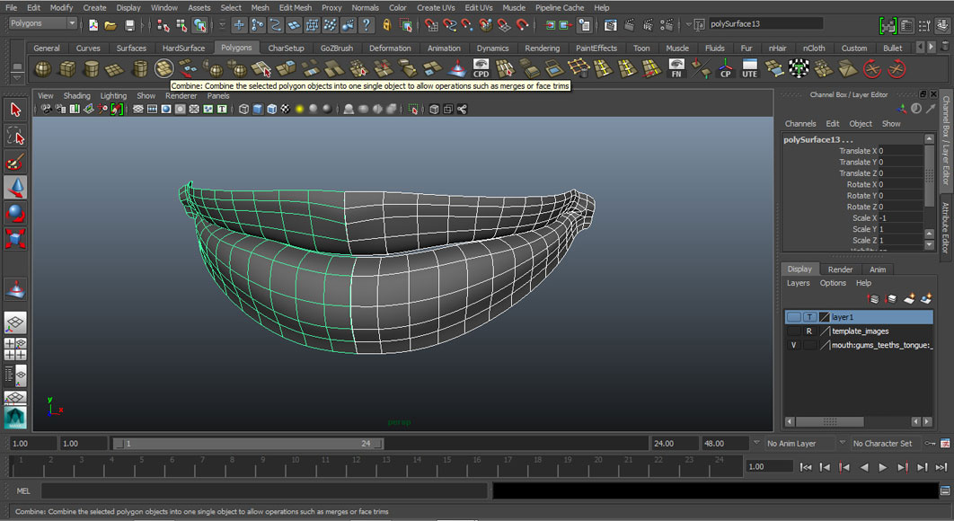 Jorge Sanchez modelling the lips and mouth tutorial image Part 3 Step 3