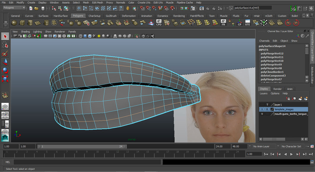 Jorge Sanchez modelling the lips and mouth tutorial image Part 3 Step 4
