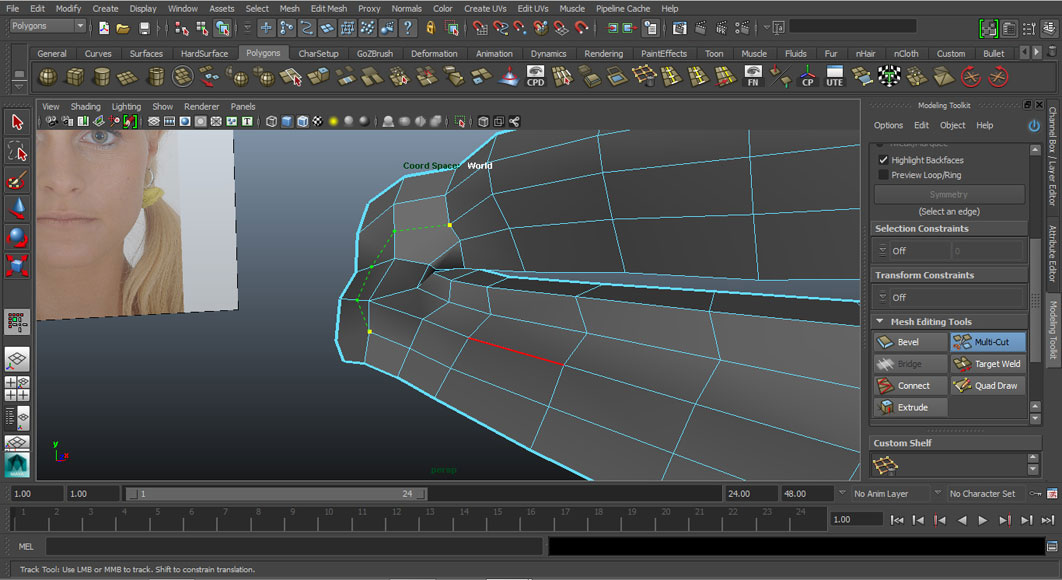 Jorge Sanchez modelling the lips and mouth tutorial image Part 4 Step 2