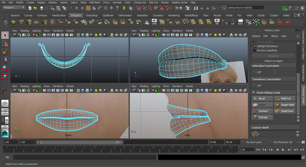 Jorge Sanchez modelling the lips and mouth tutorial image Part 4 Step 5