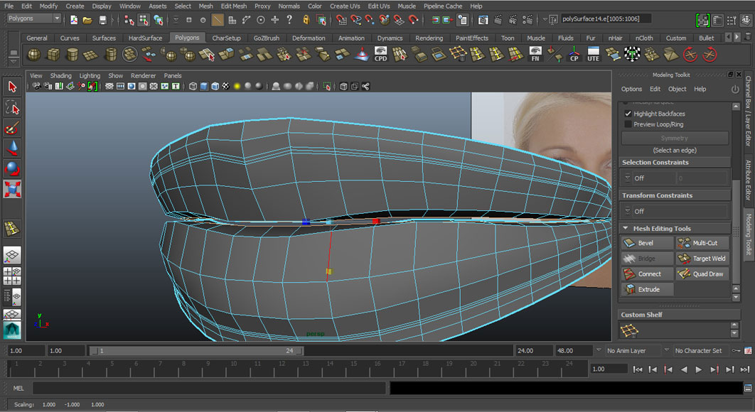 Jorge Sanchez modelling the lips and mouth tutorial image Part 4 Step 7
