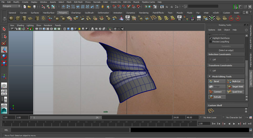 Jorge Sanchez modelling the lips and mouth tutorial image Part 5 Shaded Side