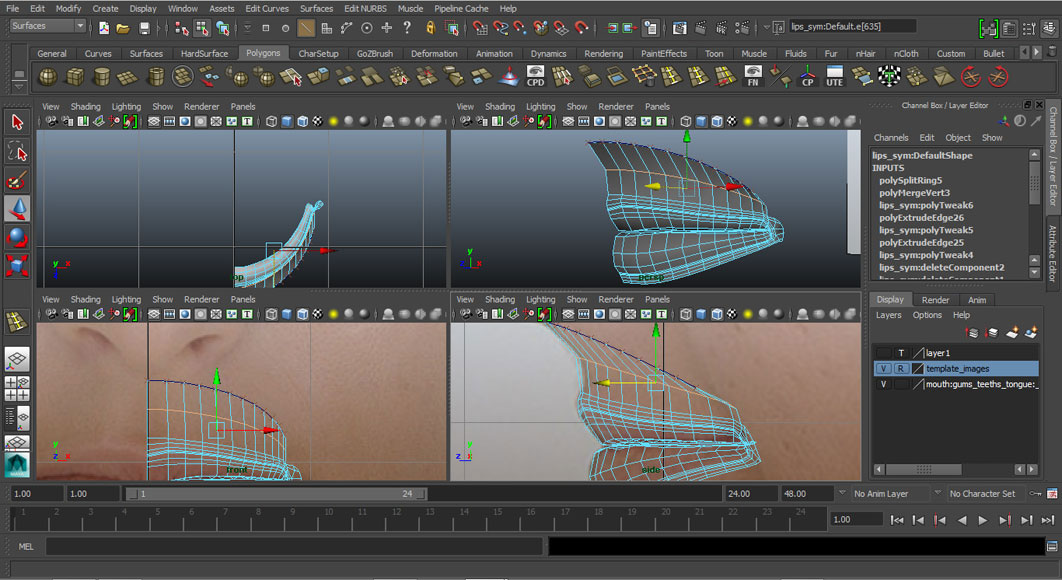 Jorge Sanchez modelling the lips and mouth tutorial image Part 5 Step 2