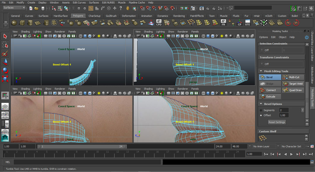 Jorge Sanchez modelling the lips and mouth tutorial image Part 5 Step 3