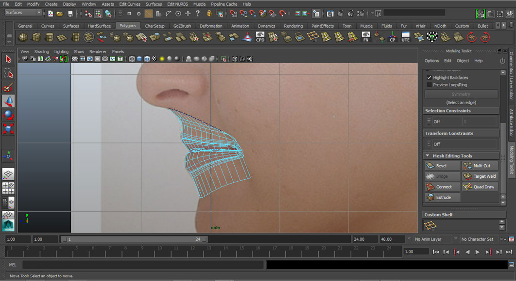 Jorge Sanchez modelling the lips and mouth tutorial image Part 5 Step 4