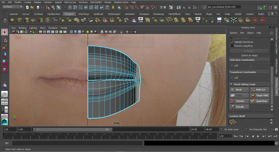 Jorge Sanchez modelling the lips and mouth tutorial image Part 5 Step 5