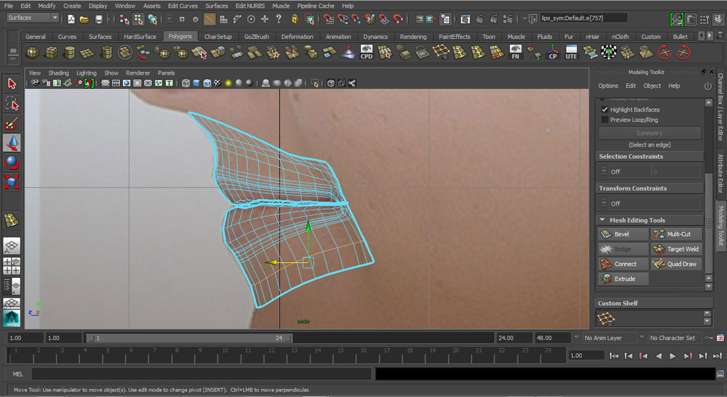 Jorge Sanchez modelling the lips and mouth tutorial image Part 5 Step 6