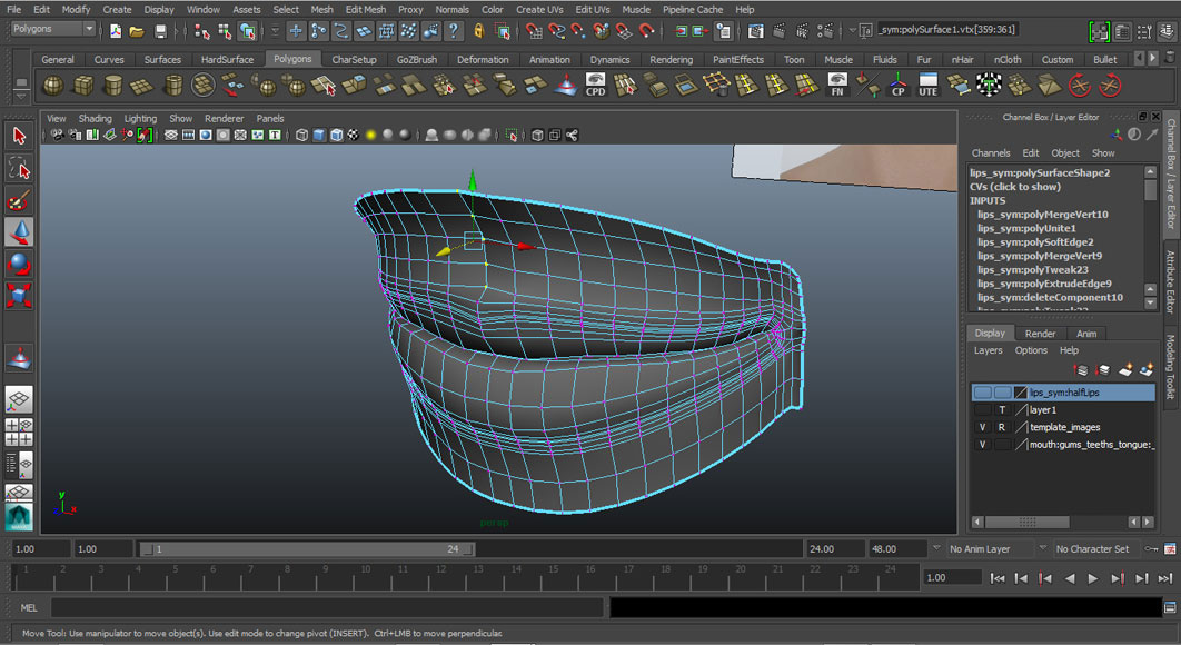 Jorge Sanchez modelling the lips and mouth tutorial image Part 5 Step 7
