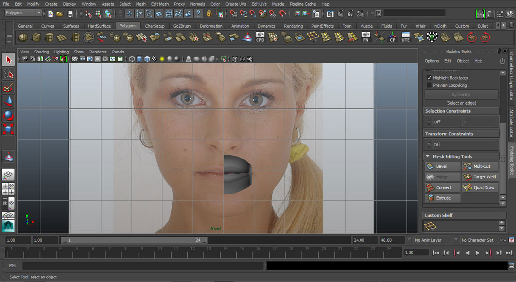 Jorge Sanchez modelling the lips and mouth tutorial image Part 5 Shaded Front