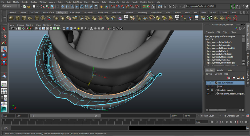 Jorge Sanchez modelling the lips and mouth tutorial image Part 6 Step 1