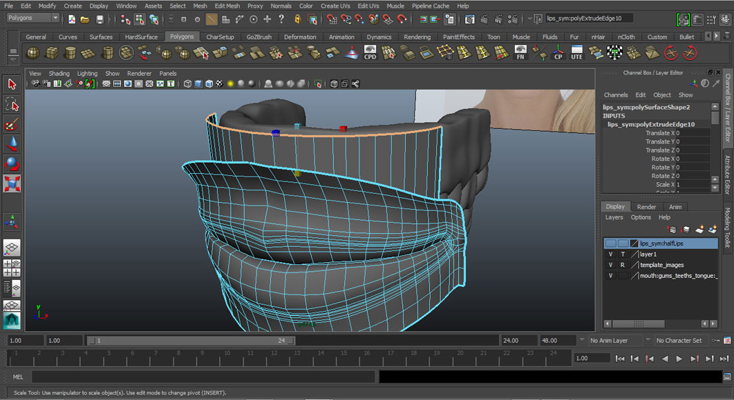 Jorge Sanchez modelling the lips and mouth tutorial image Part 6 Step 2