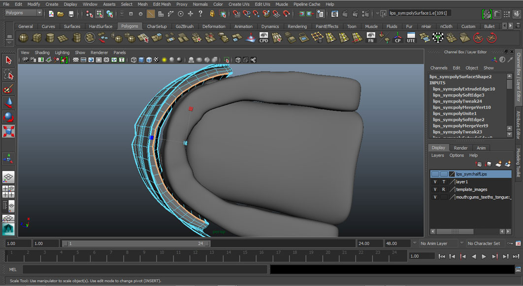 Jorge Sanchez modelling the lips and mouth tutorial image Part 6 Step 3