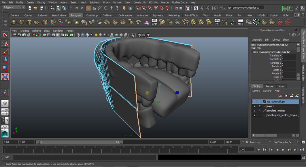 Jorge Sanchez modelling the lips and mouth tutorial image Part 6 Step 4