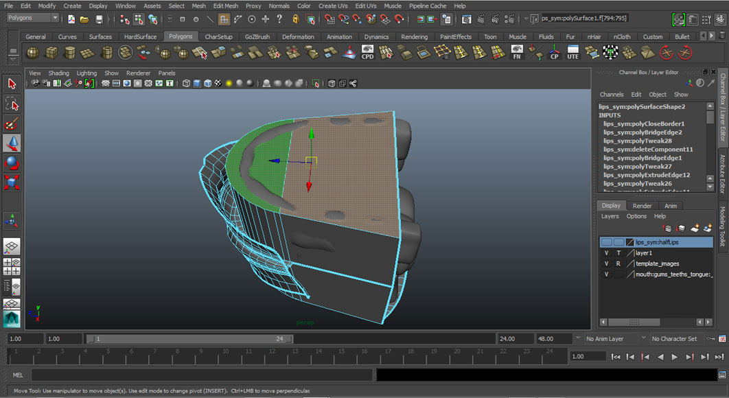 Jorge Sanchez modelling the lips and mouth tutorial image Part 6 Step 5